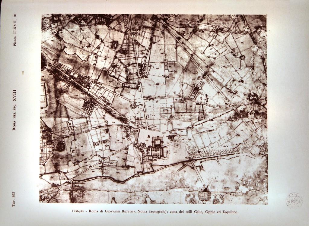 1736/44 Roma di Giovanni Battista Nolli: zona dei colli Celio, Oppio ed Esquilino