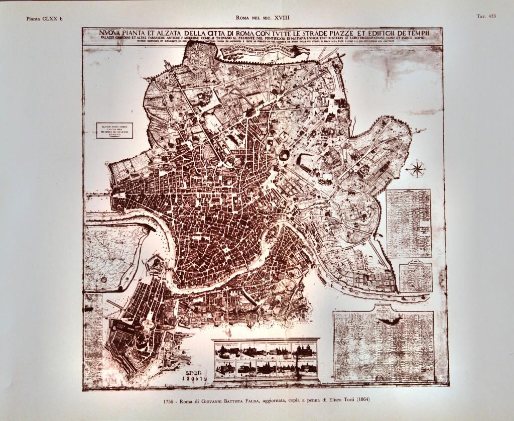 1756 - Roma di Giovanni Battista Falda, aggiornata, copia a penna di Eliseo Tosti (1864)