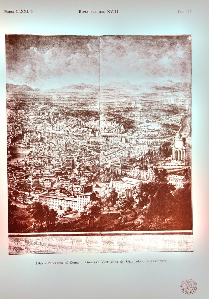 1765 - Panorama di Roma di Giuseppe Vasi: zona del Gianicolo e di Trastevere